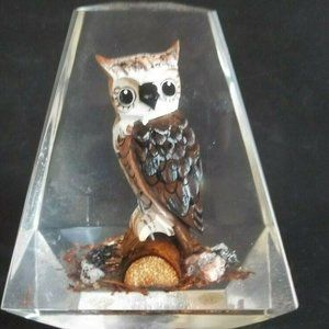 Vintage Lucite Paperweight OWL on LOG Eames Retro